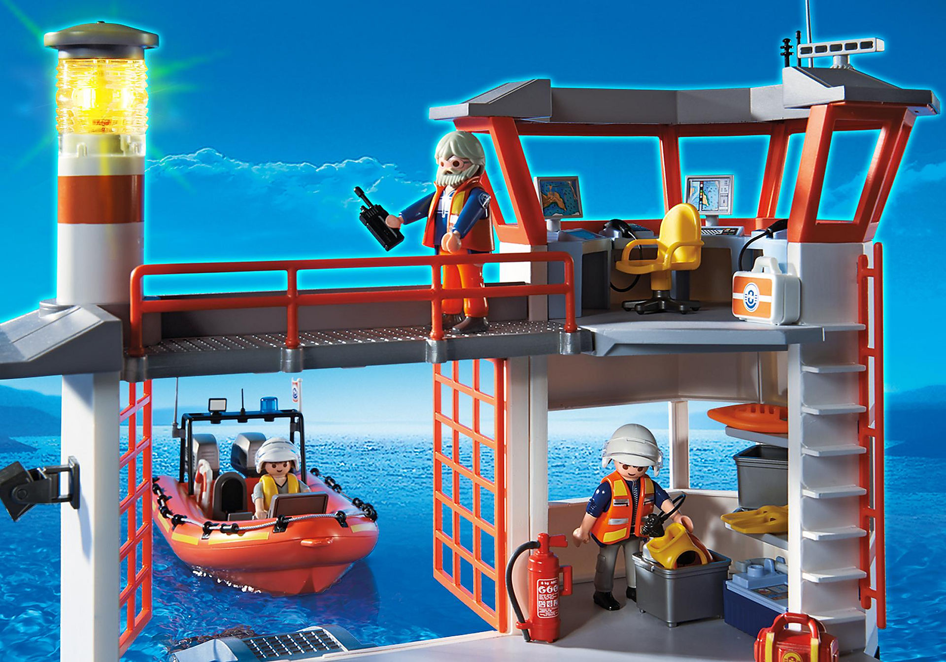 http://media.playmobil.com/i/playmobil/5539_product_extra3/Coast Guard Station with Lighthouse