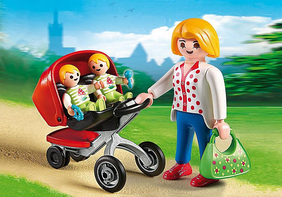 5573 Maman avec jumeaux et landau detail image 1