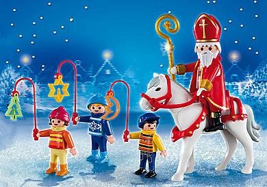 5593 Mikołaj i dzieci z latarniami