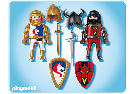 5815-A PLAYMOBIL Duo Chevalier Dragon rouge et Chevalier Licorne detail image 2