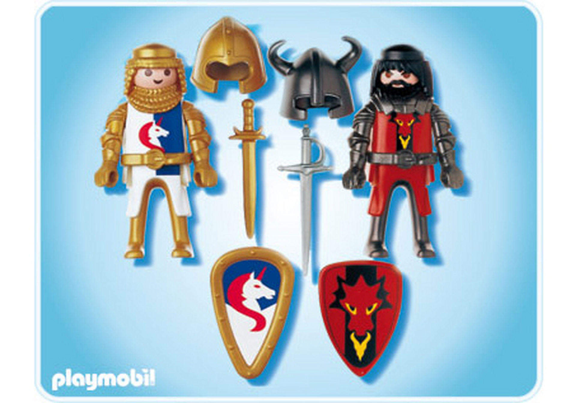 5815-A PLAYMOBIL Duo Chevalier Dragon rouge et Chevalier Licorne zoom image2