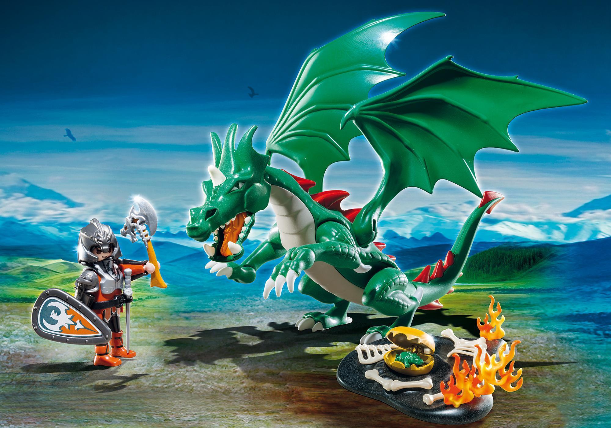 6003_product_detail/Chevalier avec grand dragon vert