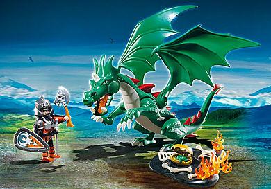6003 Chevalier avec grand dragon vert