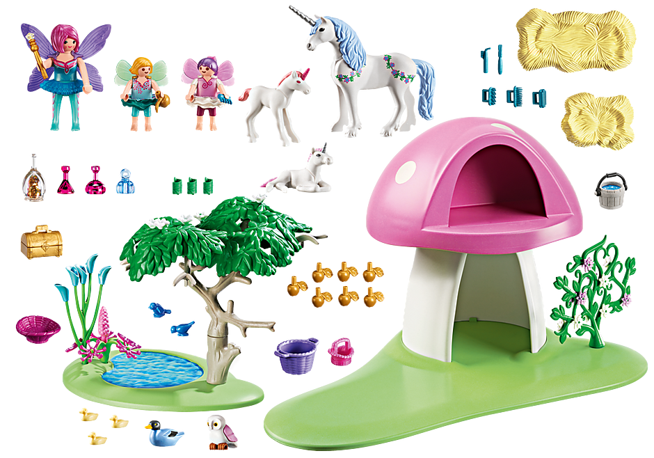 6055 Fairies with Toadstool House detail image 3