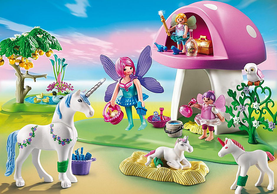 6055 Fairies with Toadstool House detail image 1