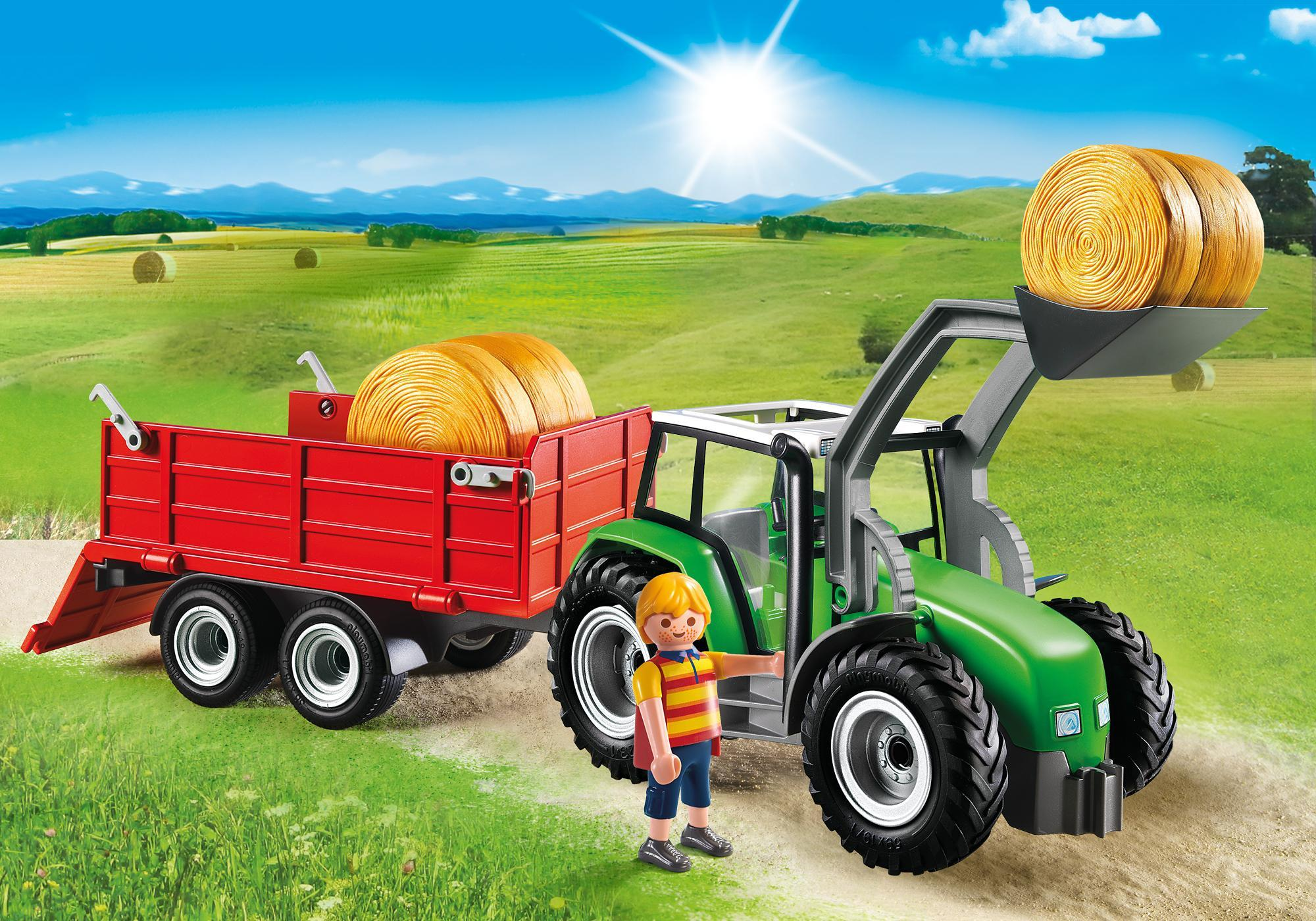 Frontlader Playmobil : Großer traktor mit anhänger playmobil deutschland