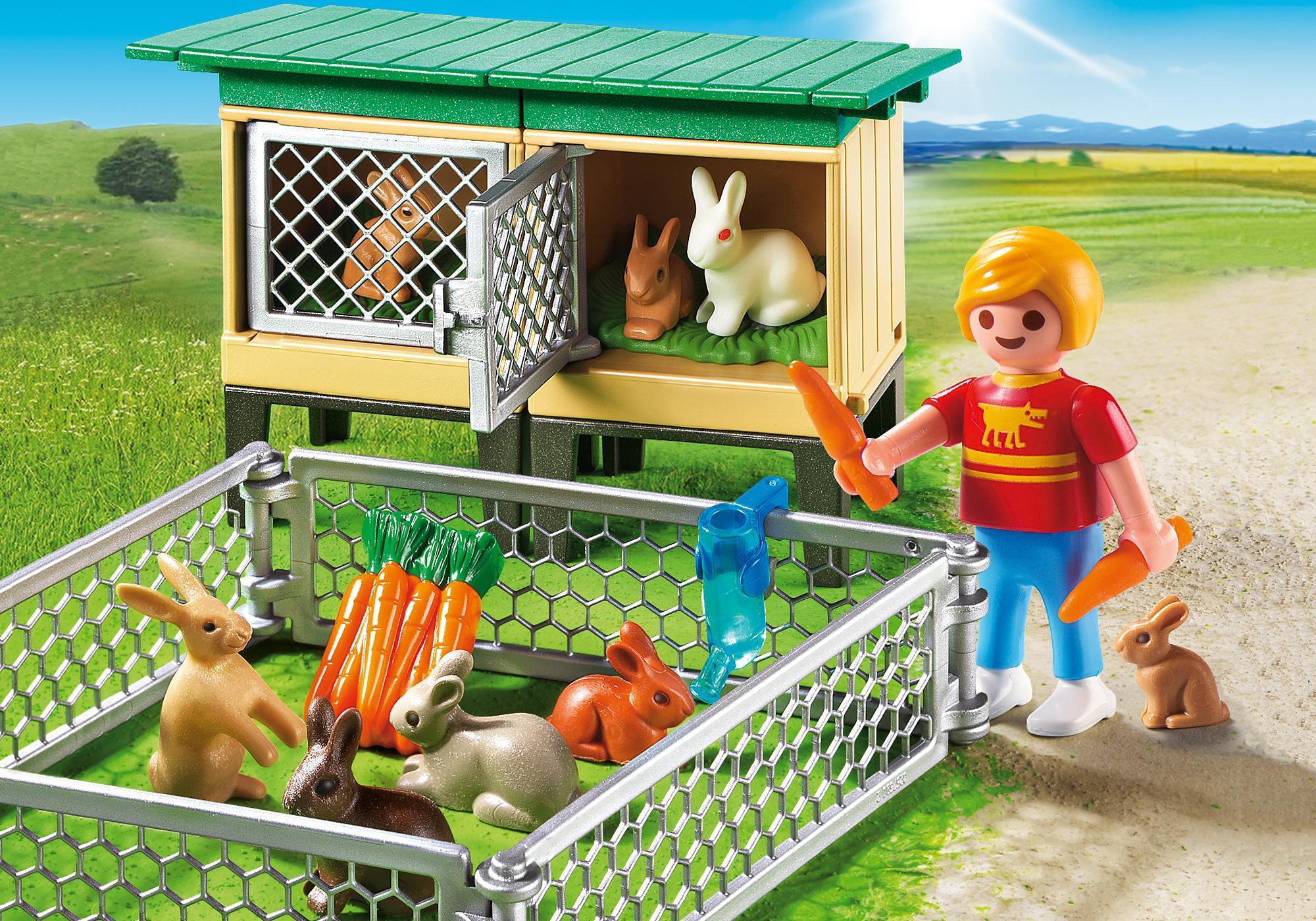 6140_product_detail/Enfant avec enclos à lapins et clapier