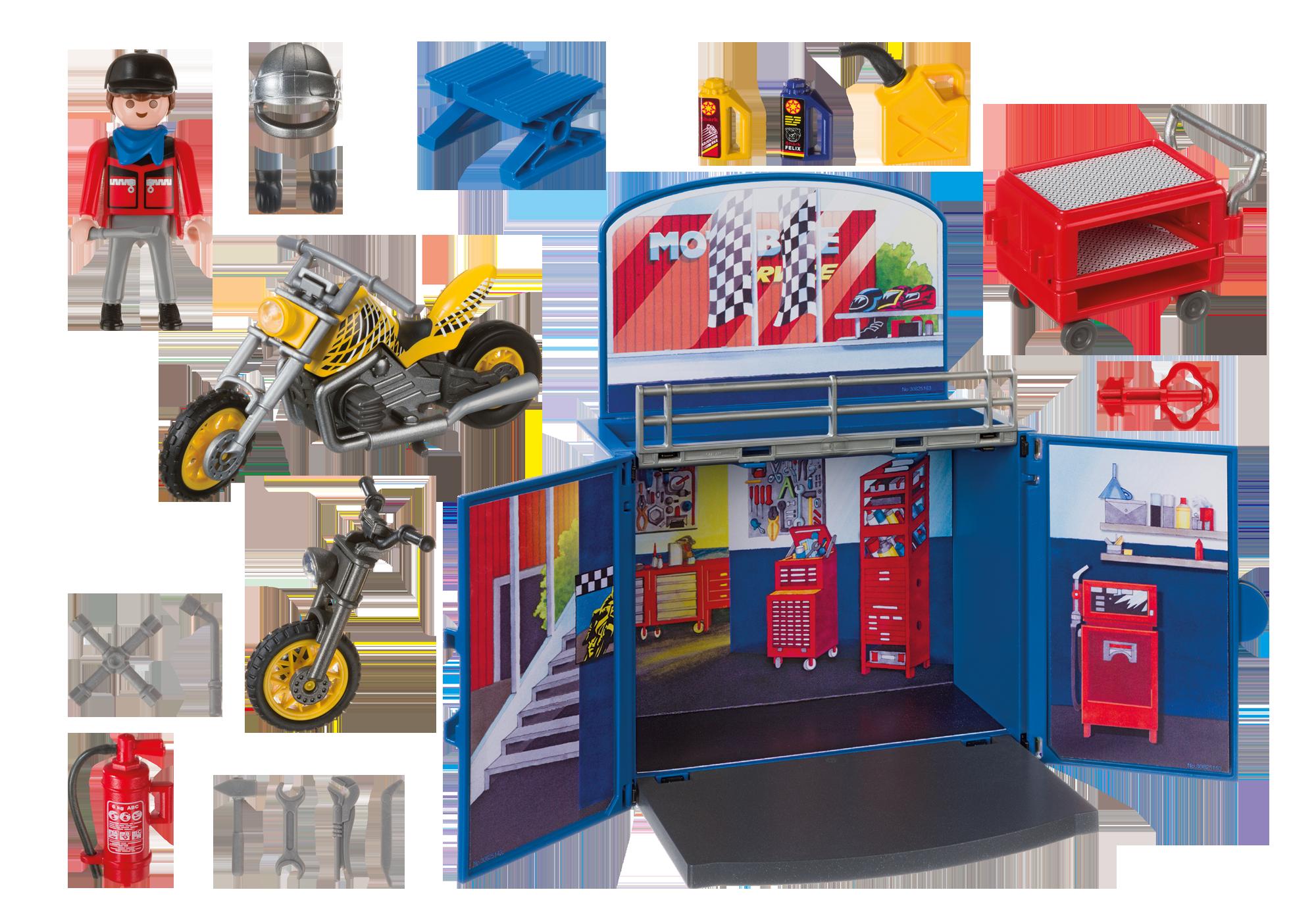"""http://media.playmobil.com/i/playmobil/6157_product_box_back/Aufklapp-Spiel-Box """"Motorradwerkstatt"""""""