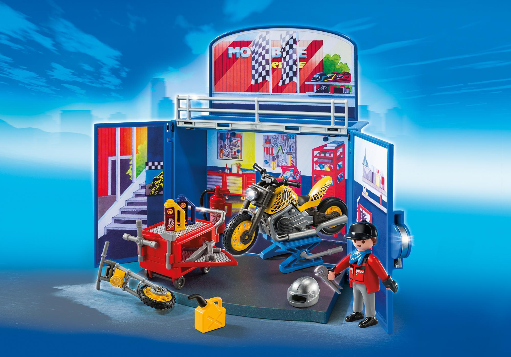 """http://media.playmobil.com/i/playmobil/6157_product_detail/Aufklapp-Spiel-Box """"Motorradwerkstatt"""""""