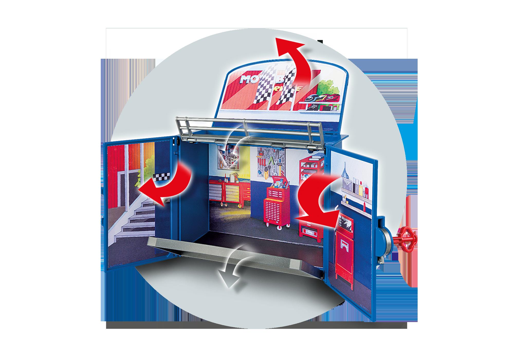 """http://media.playmobil.com/i/playmobil/6157_product_extra1/Aufklapp-Spiel-Box """"Motorradwerkstatt"""""""