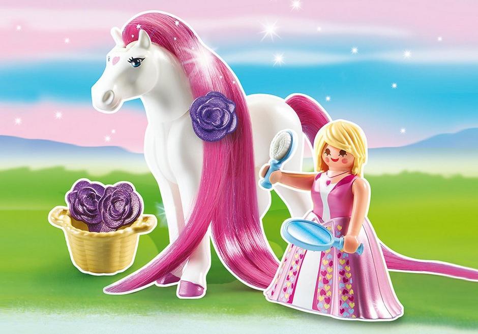 Princesse rose avec cheval coiffer 6166 playmobil france - Princesse cheval ...