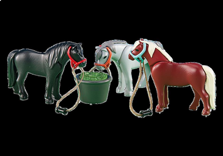 6256 3 Ponys mit Futtertrog detail image 1