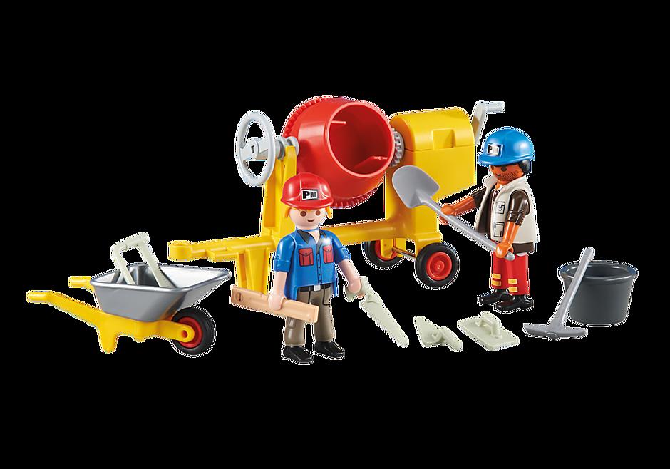 6339 2 εργάτες εργοταξίου με μπετονιέρα detail image 1