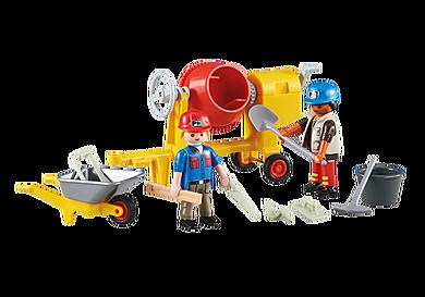 6339 2 εργάτες εργοταξίου με μπετονιέρα