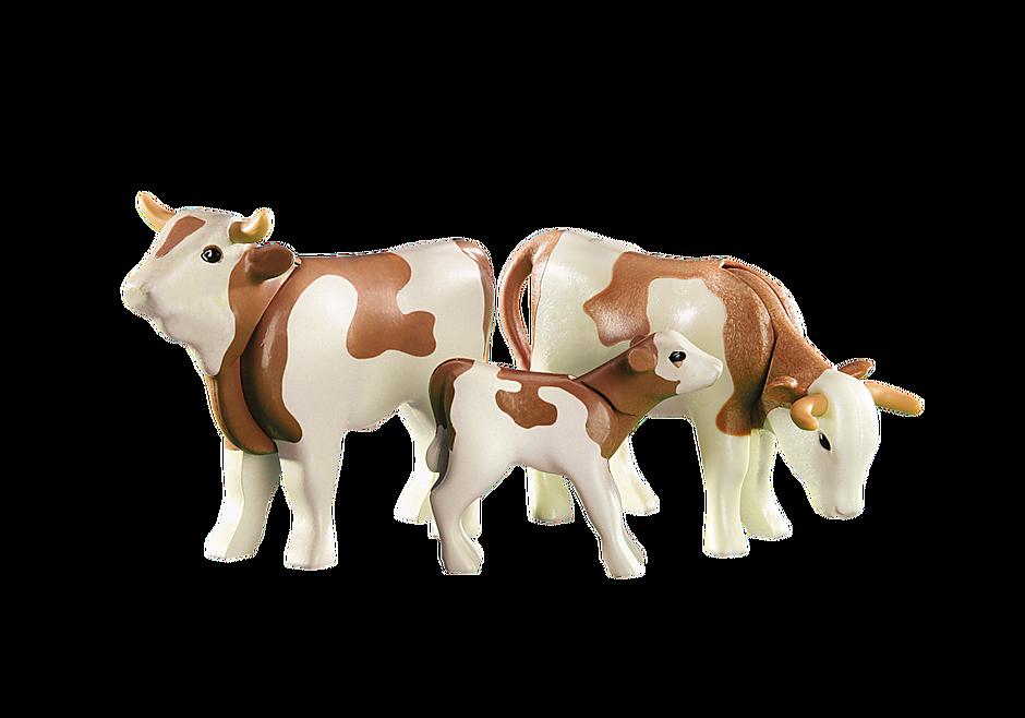 6356 2 Koeien met kalfje (bruin) detail image 1