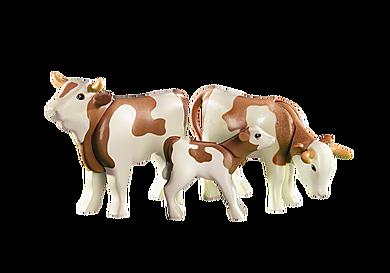 6356 2 vaches avec veau bruns