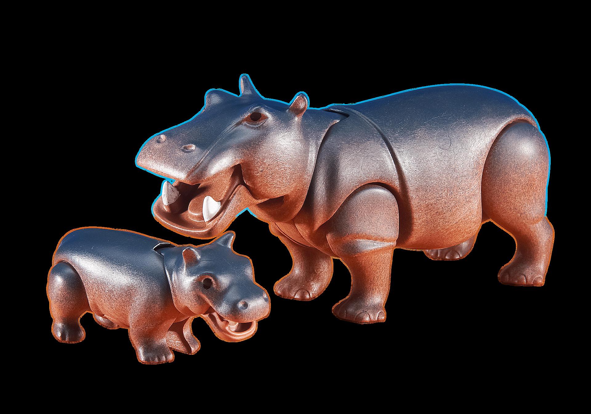 6421 Hippopotame et son petit zoom image1