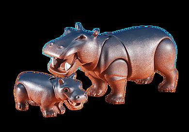 6421 Hippopotame et son petit