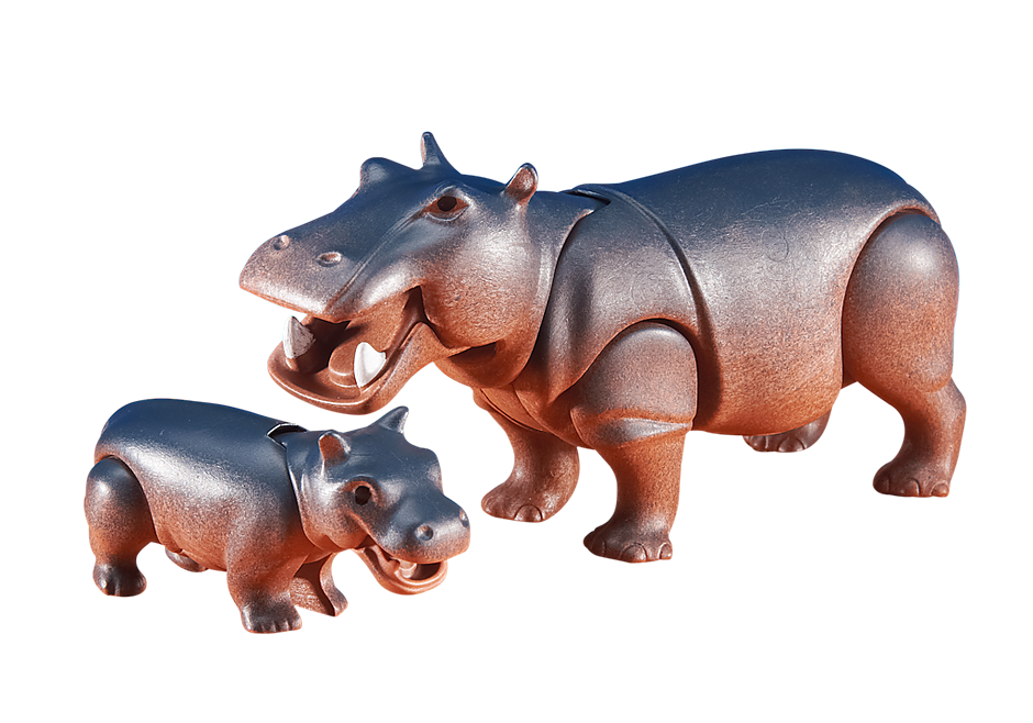 6421 Nijlpaard met jong detail image 1