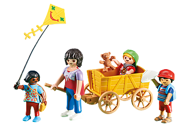 6439 Mother with Children and Wagon