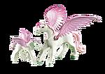 6461 Cheval ailé blanc avec son petit