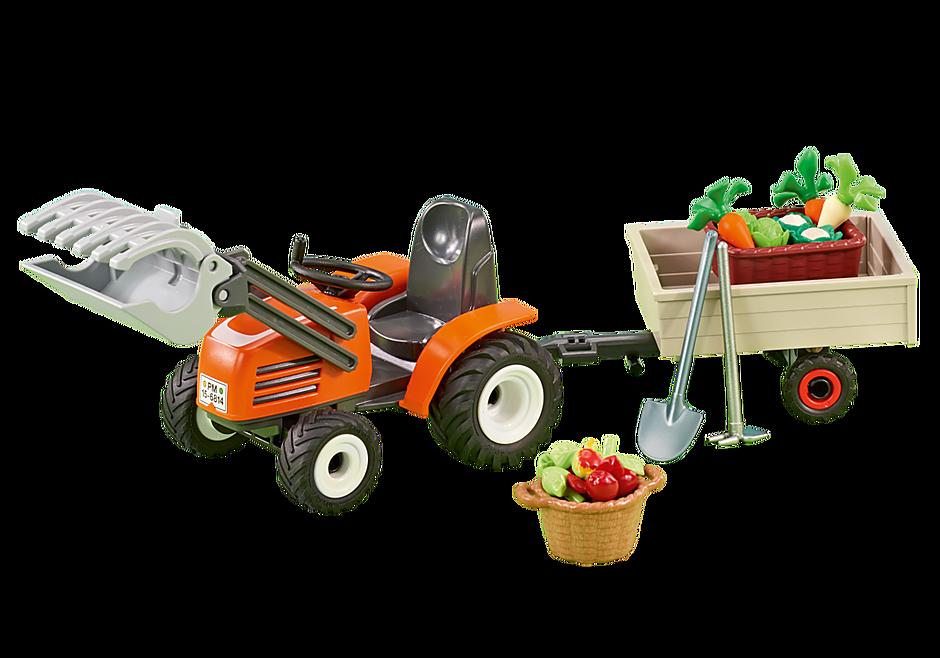 6537 Kleine tractor met aanhangwagen detail image 1