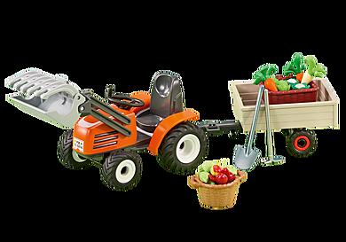 6537 Kleine tractor met aanhangwagen