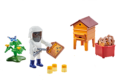 6573 Imker met bijenkorf