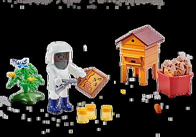 6573 Imker mit Bienenstock