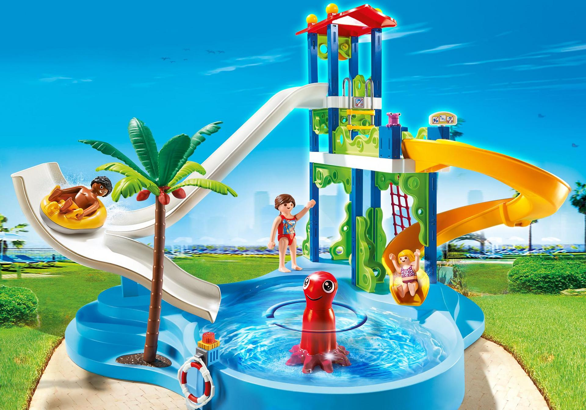 Aquapark mit rutschentower 6669 playmobil deutschland for Piscine playmobile 4858