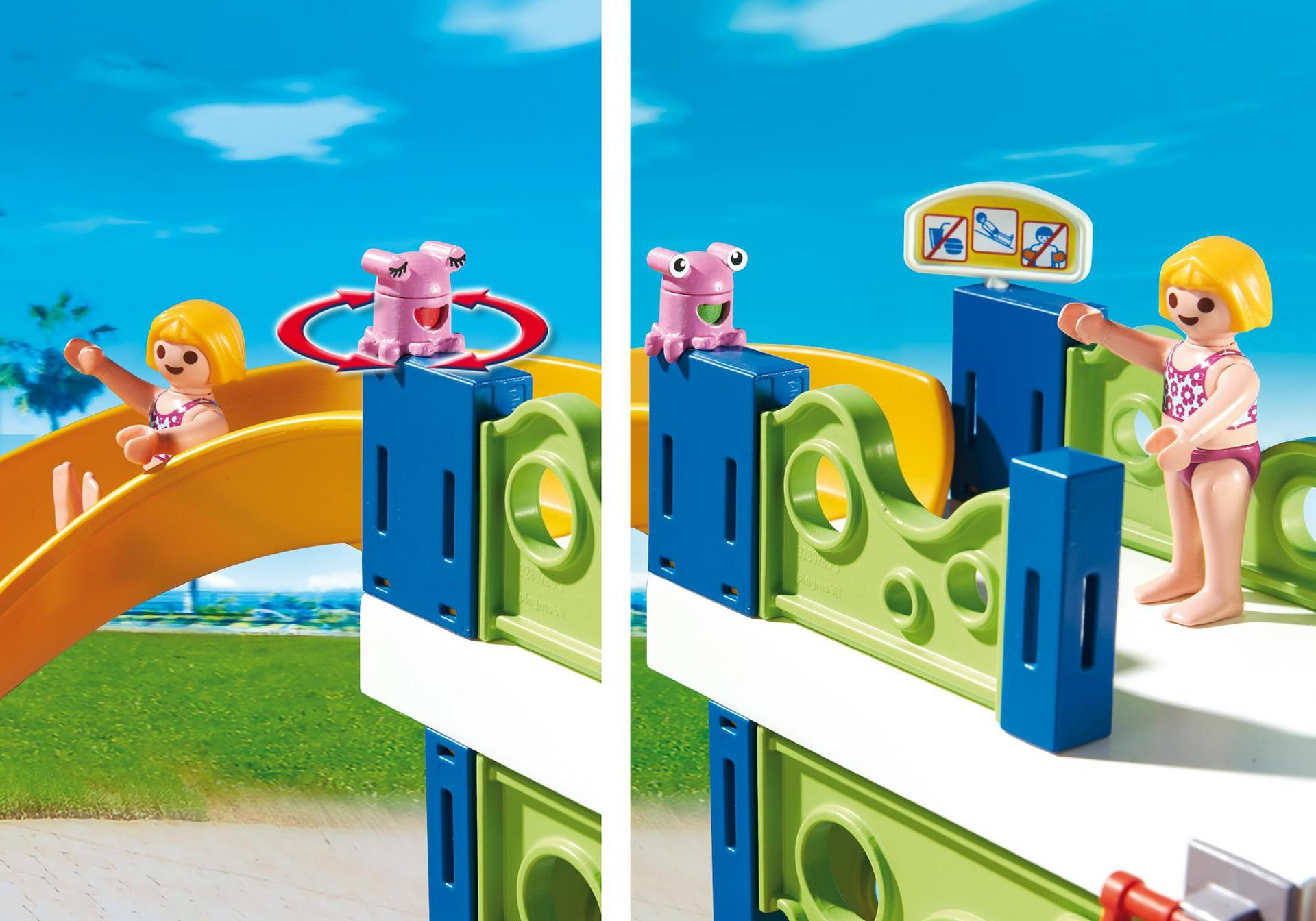 Parque acu tico con toboganes 6669 playmobil espa a for Playmobil piscina con tobogan