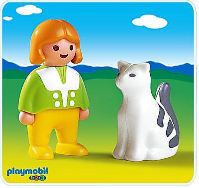 6728-A Mädchen mit Katze detail image 1
