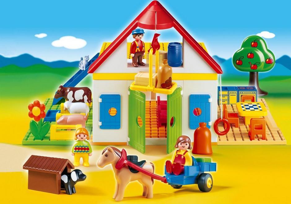 Coffret grande ferme 1 2 3 6750 playmobil france for Casa moderna de playmobil 123