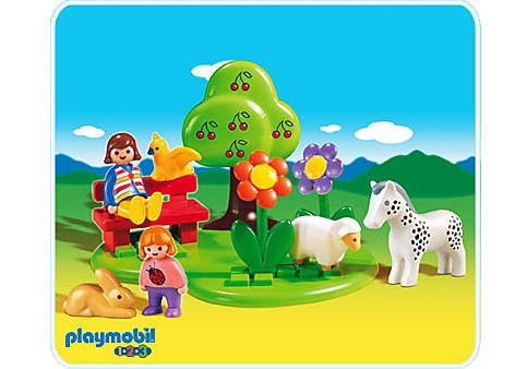 6757-A Sommerwiese mit Tieren detail image 1