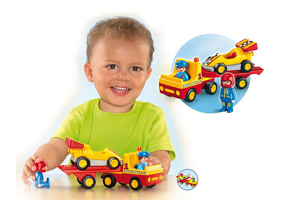 6761-A Voiture de course avec camion de transport detail image 2