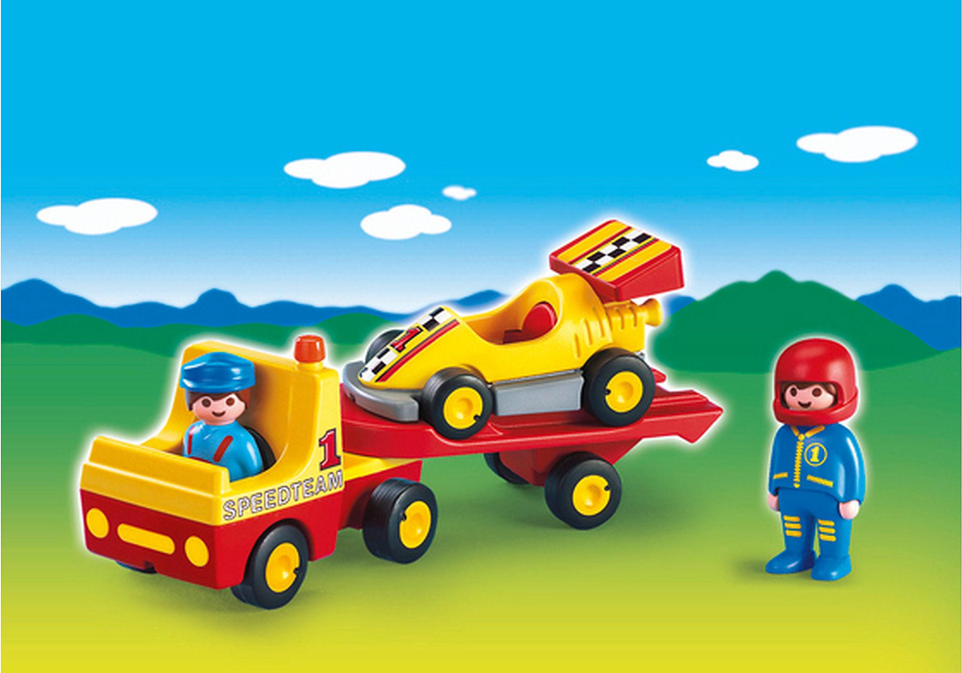 6761-A Voiture de course avec camion de transport zoom image1