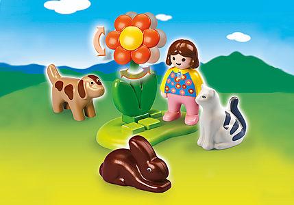 6763-A Mädchen mit Haustieren detail image 1