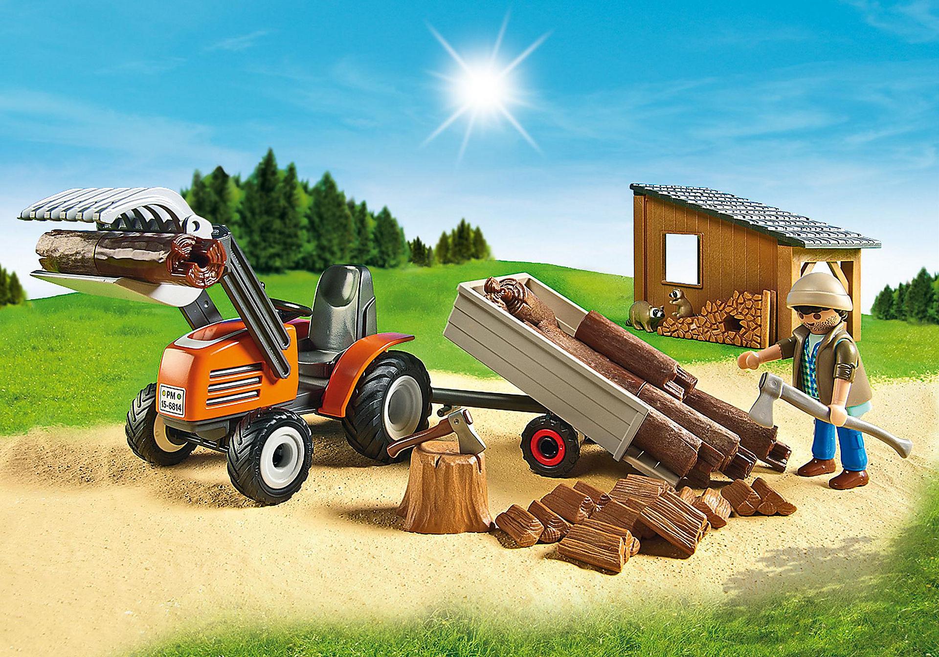 6814 Skogsarbetare med traktor zoom image5