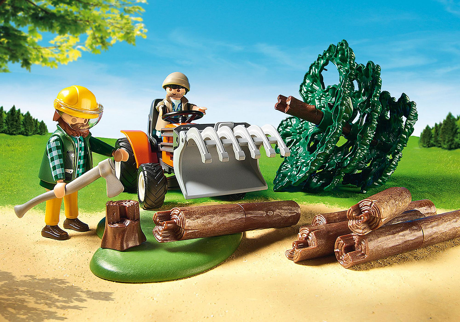 6814 Skogsarbetare med traktor zoom image6