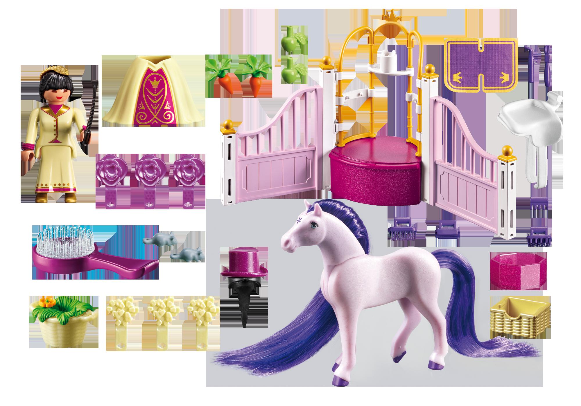 http://media.playmobil.com/i/playmobil/6855_product_box_back/Ecurie avec cheval à coiffer et princesse