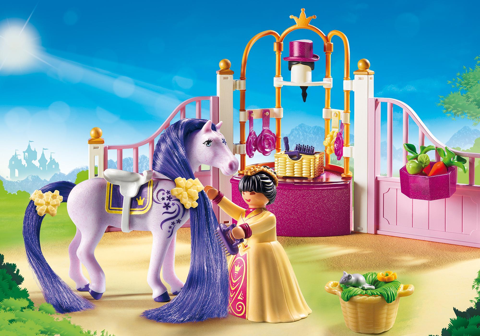 6855_product_detail/Ecurie avec cheval à coiffer et princesse
