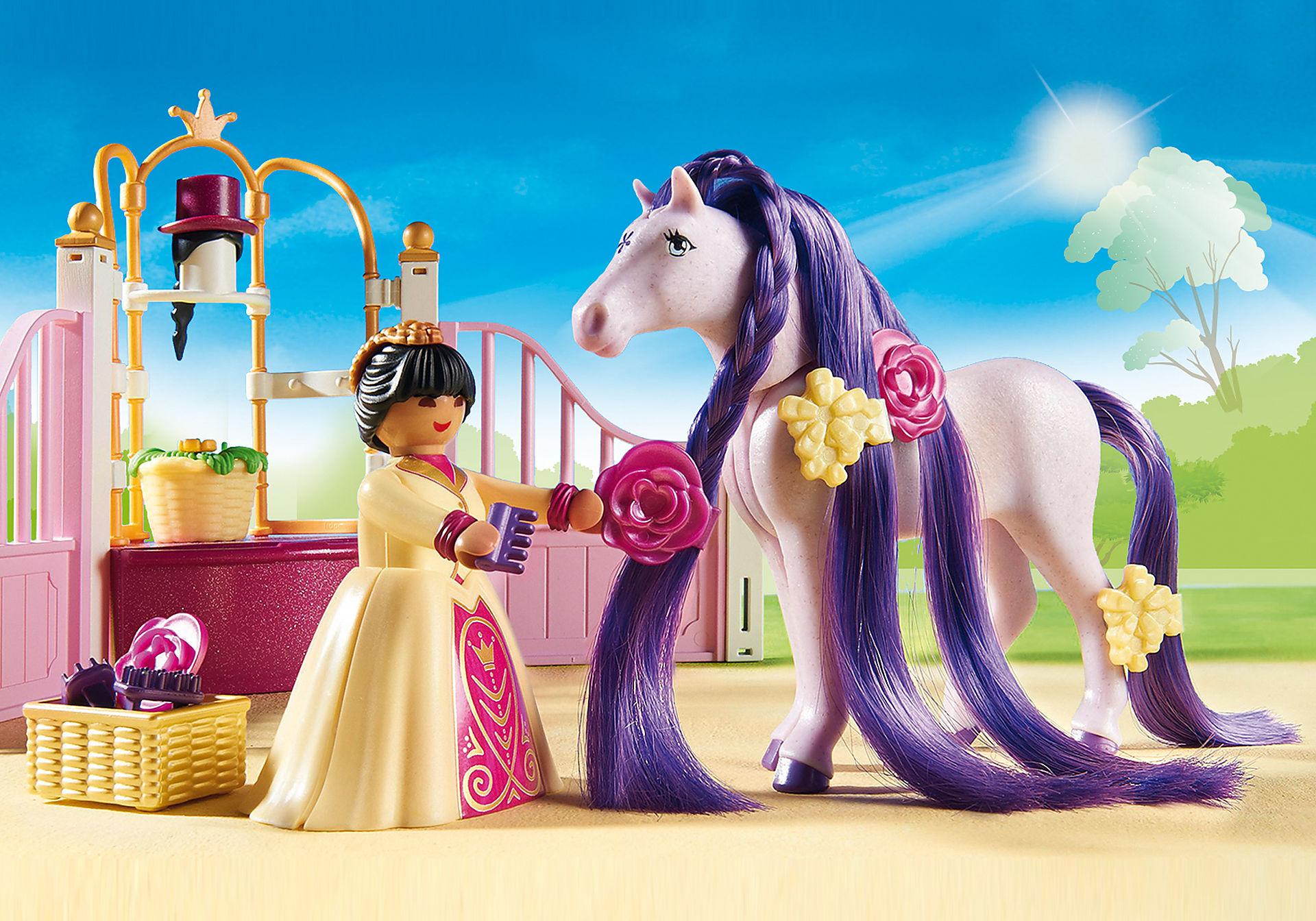 http://media.playmobil.com/i/playmobil/6855_product_extra2/Ecurie avec cheval à coiffer et princesse