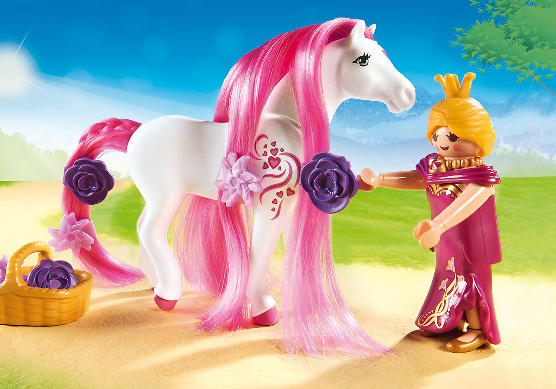 http://media.playmobil.com/i/playmobil/6856_product_extra1/Замок Принцессы: Королевская чета с каретой