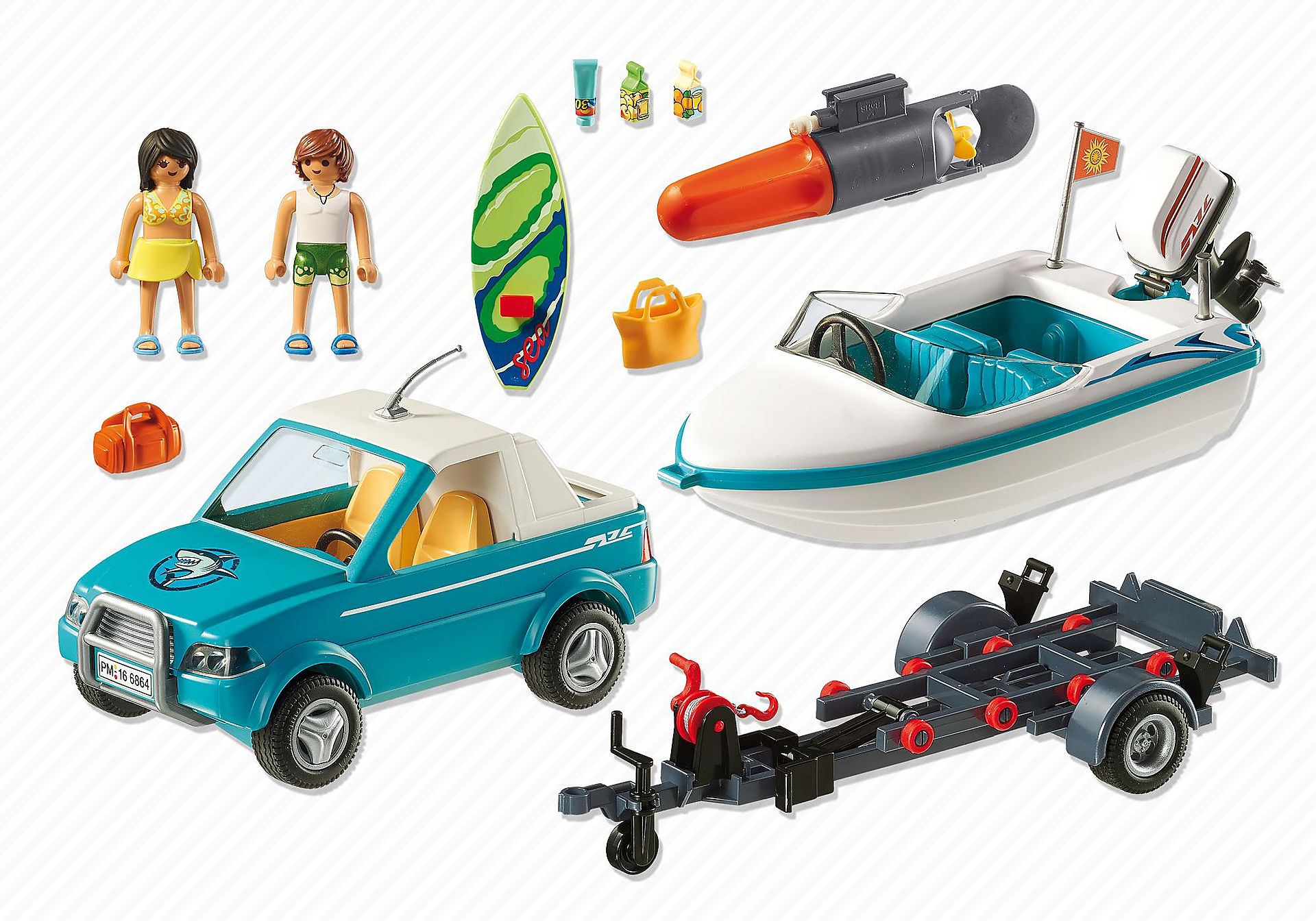 6864 Pick-up met speedboot met onderwatermotor zoom image3
