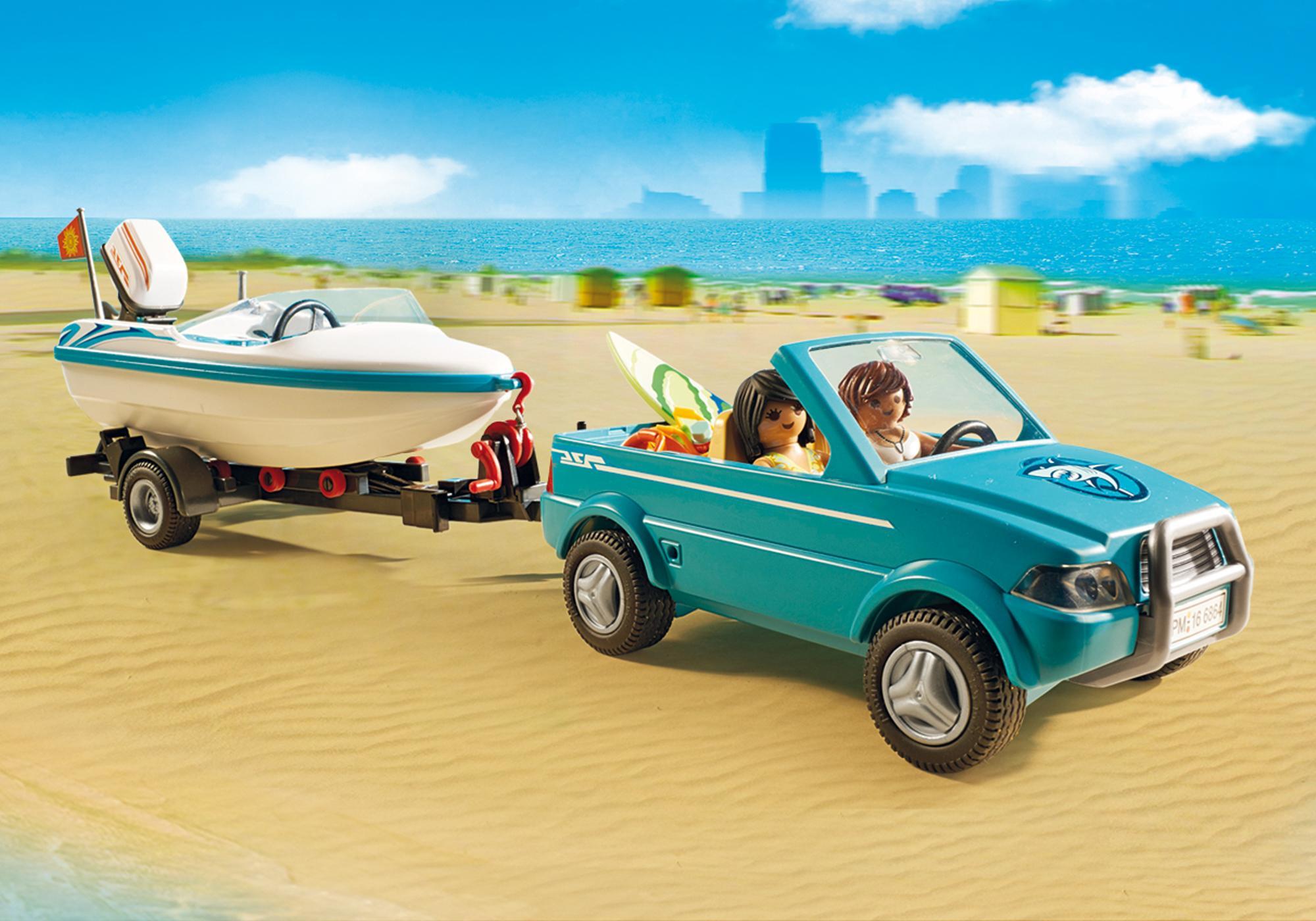 http://media.playmobil.com/i/playmobil/6864_product_extra4/Pickup med motorbåt med undervattenmotor