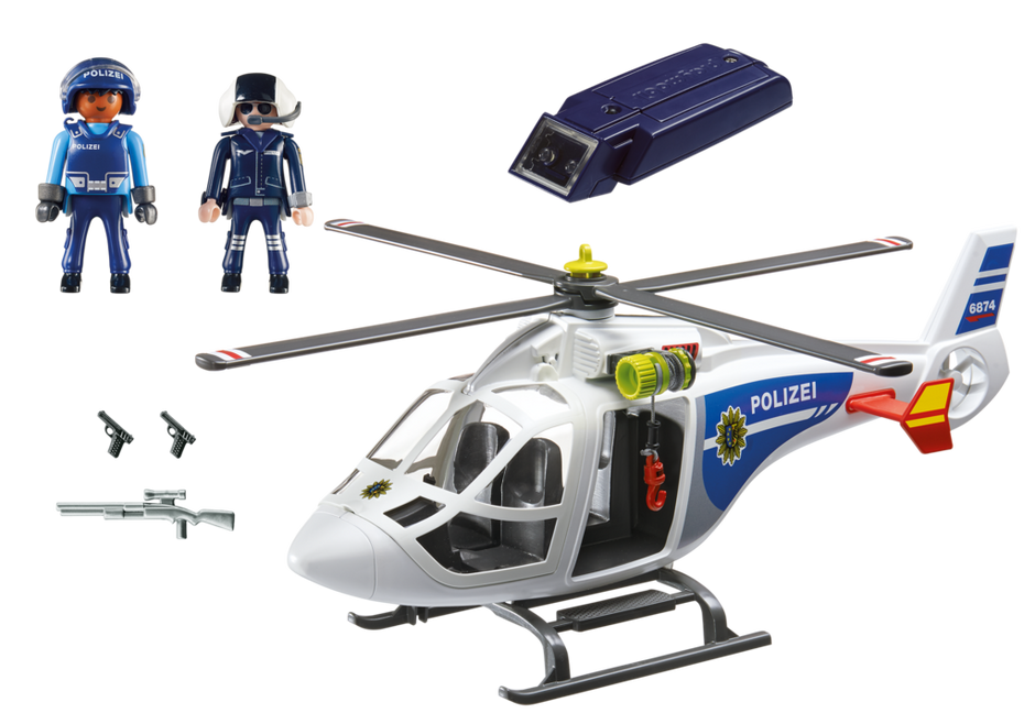 Polizei Helikopter Mit Led Suchscheinwerfer 6874 Playmobil