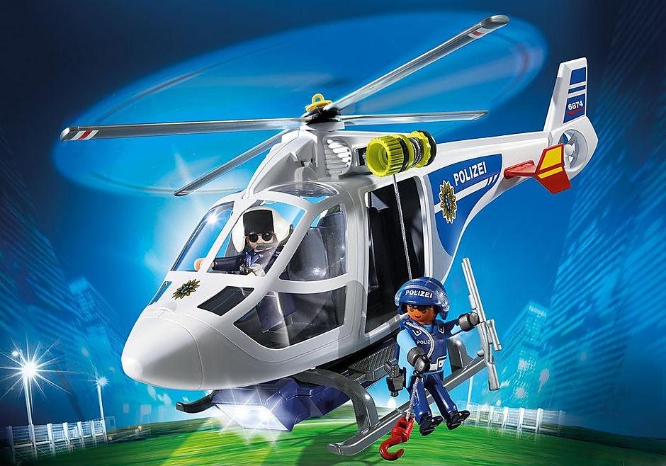 6874 Polizei-Helikopter mit LED-Suchscheinwerfer detail image 1