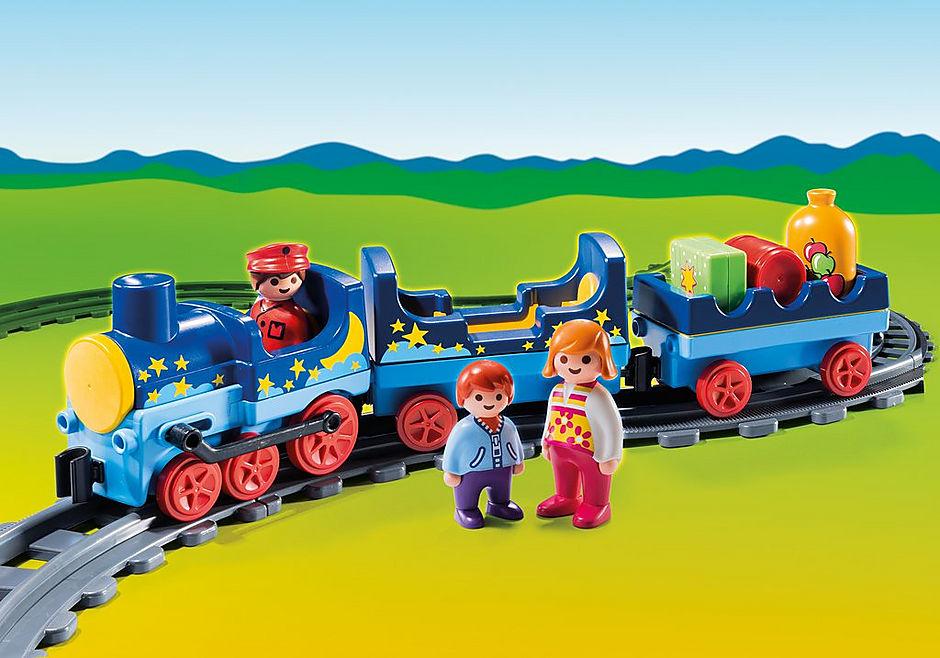 6880 Train étoilé avec passagers et rails detail image 1