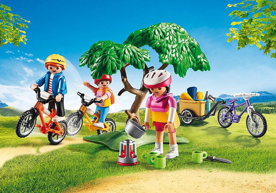 6890 Cyclistes avec vélos et remorque detail image 1