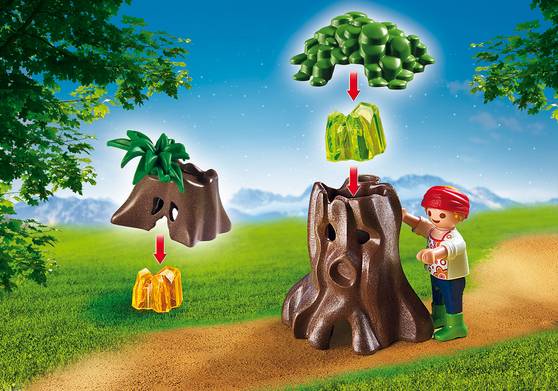 6891 Enfants avec végétation et lampe torche  zoom image6